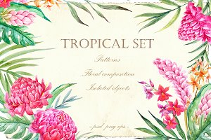 Tropical set (VECTOR + PNG + PSD)