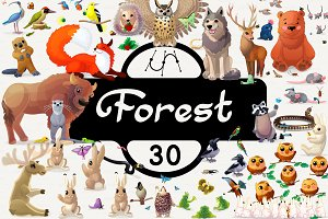♥ vector set animals of Forest
