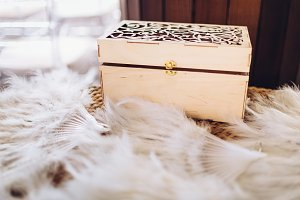 Wooden decorative box with feather fans