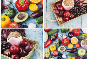 Collage from different colorful vegetables and fruits on the wooden background