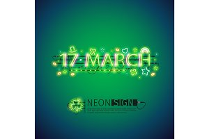 Glowing Neon 17 March Poster
