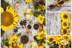 Yellow sunflowers, bottle with oil and sunflower seeds in the wooden bowl