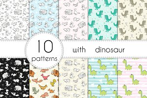 10 patterns with dinosaur