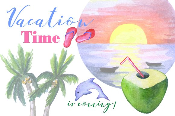 Summer Tropical Vacation Clipart Illustrations Creative Market