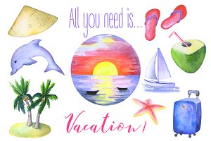 Summer Tropical Vacation Clipart