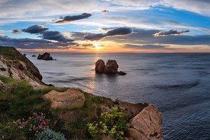 Sunset Atlantic Ocean coastline.