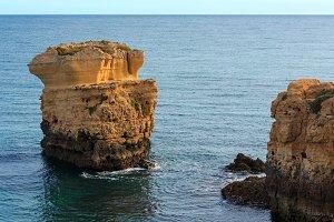 Limestone cliff near shore.