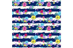 Exotic colorful flowers on a white-blue background with stripes