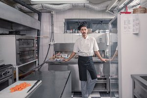 chef posing, commercial kitchen