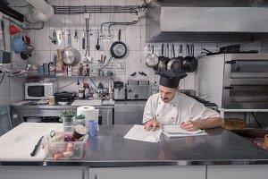 one chef uniform, commercial kitchen