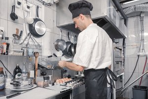 man chef frying, deep fryer, kitchen