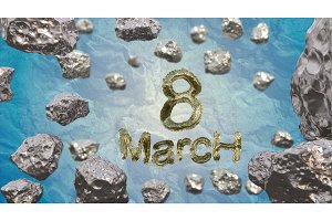8 March symbol. Figure of eight made of golden city blocks or star ship flying in the space with asteroids. Can be used as a decorative greeting grungy or postcard for international Woman's Day. 3d illustration
