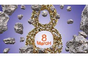 8 March symbol. Figure of eight made of golden stones flying in the space with asteroids. Can be used as a decorative greeting grungy or postcard for international Woman's Day. 3d illustration