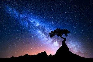 Starry sky with blue Milky Way