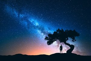 Man under the tree and Milky Way