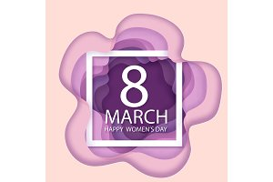 Happy Womens Day. Paper flower holiday background