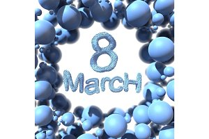 8 March symbol eight made of blue fur flying in the space and round by frame. Can be used as a decorative greeting grungy or postcard for international Woman's Day. 3d illustration