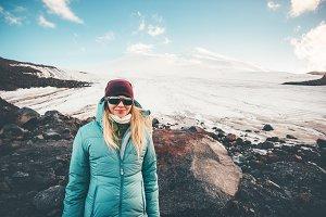 Woman traveler happy smiling