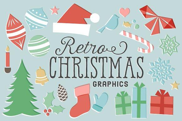 retro christmas graphics illustrations creative market
