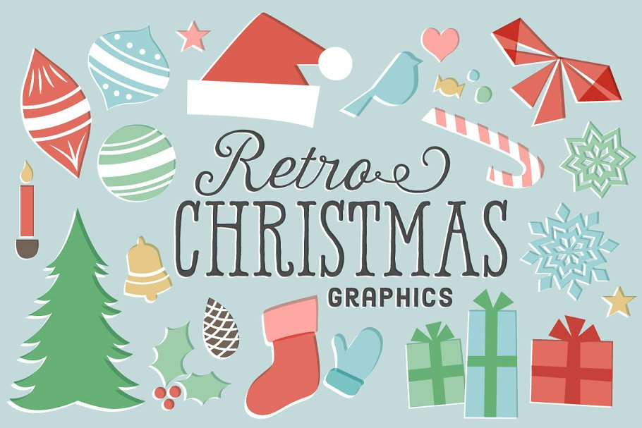 Retro Christmas.Retro Christmas Graphics