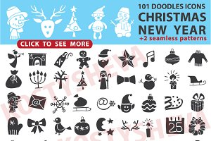 Christmas, New Year icons silhouette
