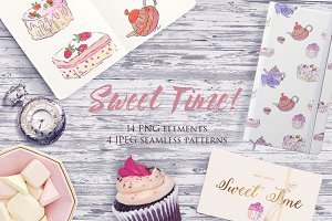 Sweet Time watercolor clipart set