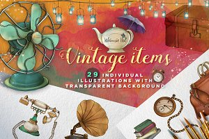 Vintage items illustration set