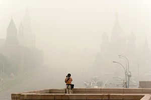 Red Square under smog, Moscow