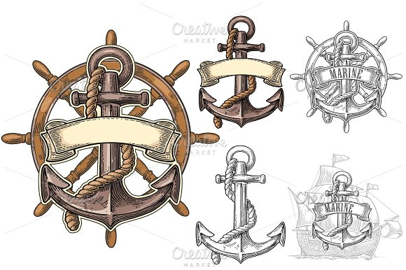 Anchor And Wheel With Ribbon Isolated On Beige Background