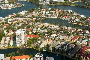 Aerial shot of residential area of Gold Coast