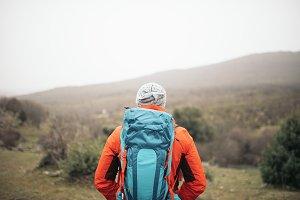 Backpacker enjoying of the Nature.