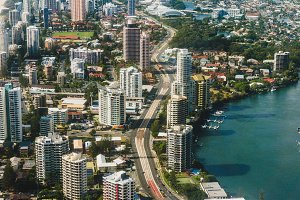 Aerial shot of residential area and infrastructure, Gold Coast,