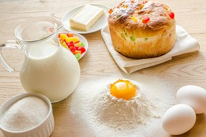 Basic ingredients for panettone