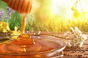 Honey falling into glass dish sunnny