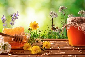 Honey pot and flowers green nature