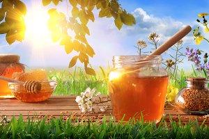 Honey pots composition blue nature