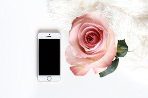 Pink Rose iPhone Mockup //