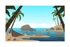 Cartoon Tropical Beach
