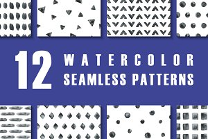 12 watercolor seamless patterns