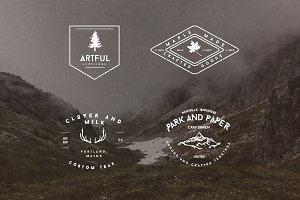 Set of Rustic Mountain Vector Badges