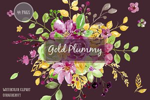 Watercolor Clipart Gold Plummy