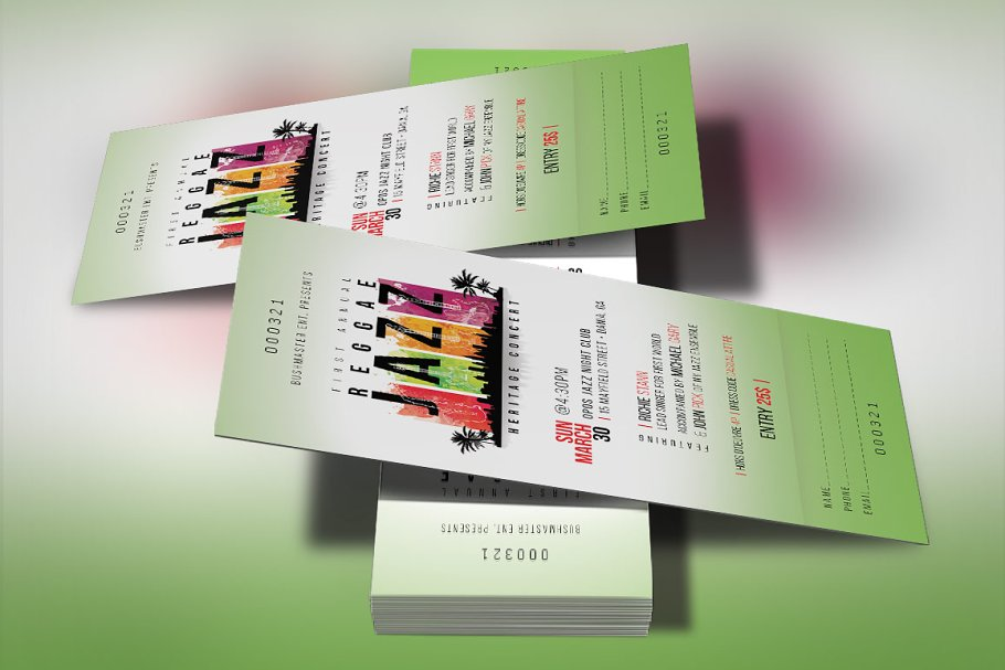 Reggae Jazz Concert Ticket Template ~ Templates ~ Creative Market