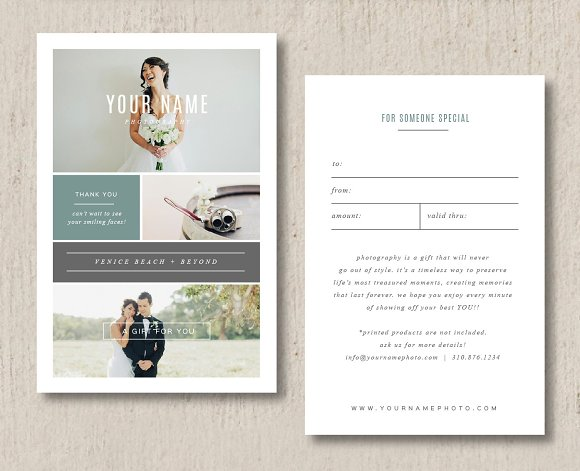Photography Gift Card Template Card Templates Creative Market