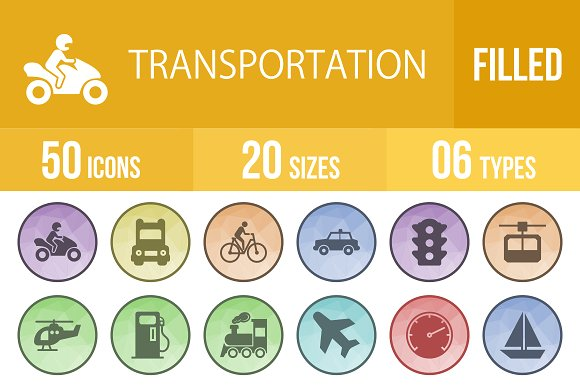 50 Transport Filled Low Poly Icons