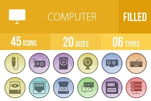 45 Computer Filled Low Poly Icons