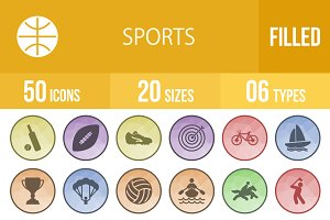 50 Sports Filled Low Poly B/G Icons