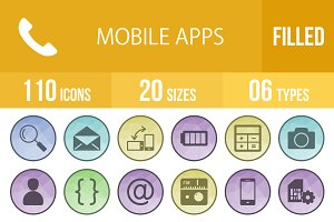 110 Mobile App Filled Low Poly Icons
