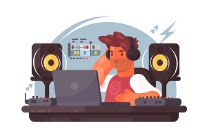Sound designer on workplace