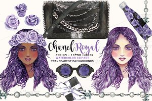 Coco Chanel purple rose girl clipart