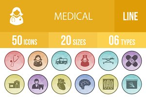 50 Medical Filled Low Poly B/G Icons
